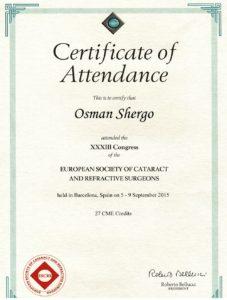 """Certificate of Attendance """"XXXIII Congress"""""""