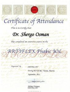 """Certificate of Attendance """"ARTIFLEX Pharic JOL"""""""